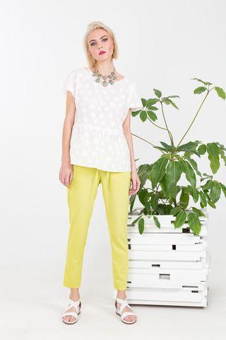 Фото белая летняя блуза с оборкой на талии - Блуза Г661б-367 (1)