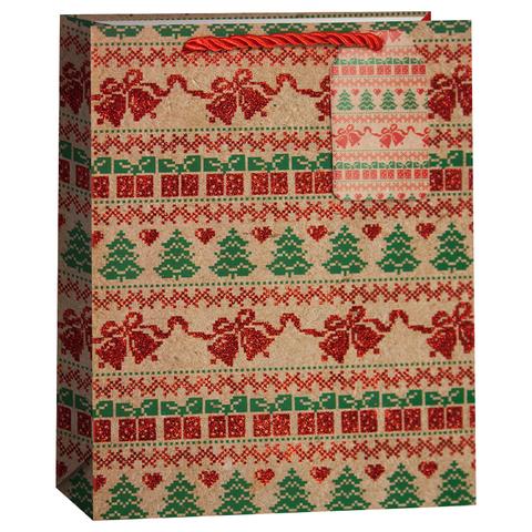 акет подарочный, Новогодний орнамент с елочками, Крафт, с блестками, 42*31*12 см