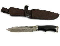 Нож Волк, дамасская сталь, кованый, черный граб, мельхиор,  ИП Фурсач