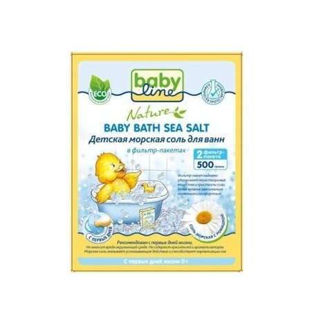 BABYLINE NATURE. Детская морская соль для ванн с ромашкой в фильтр-пакетах 500 г