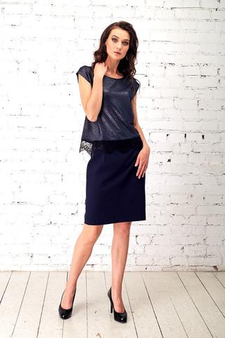 Фото синяя юбка прямого силуэта со съемной сеточкой поливискозы - Юбка Б116-126 (1)