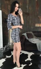 Гала. Молодіжна обтягуюча сукня міні. Синьо-білий принт