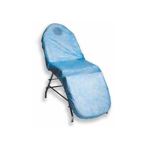 Чехол на кушетку с завязками из нетканного материала голубой 200*90 см