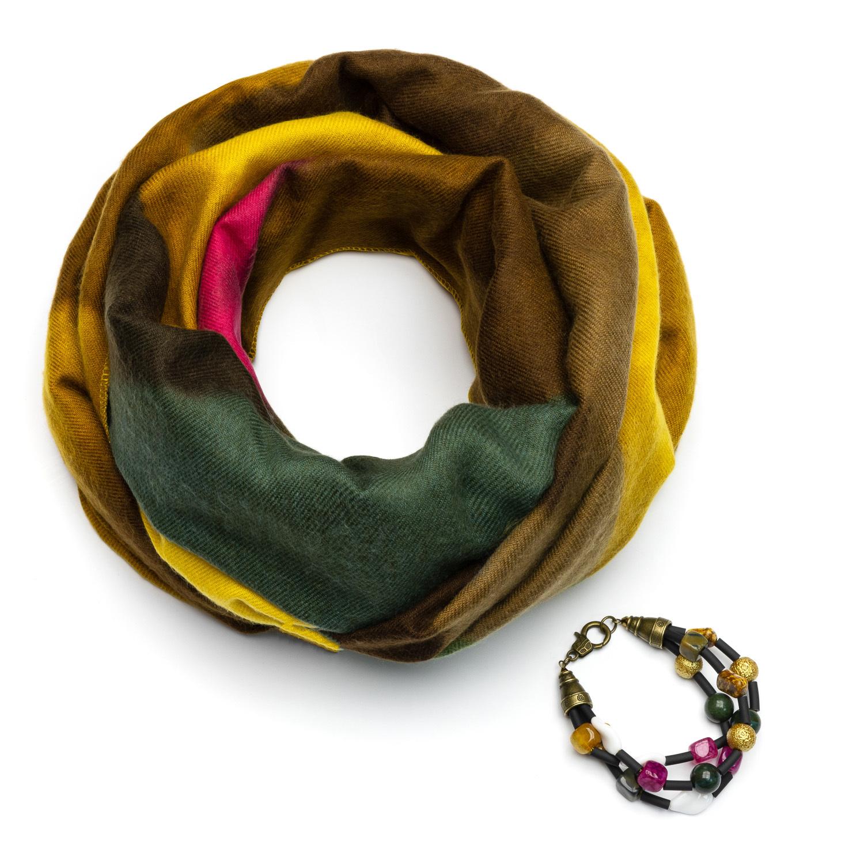 Горчичный шарф из кашемира