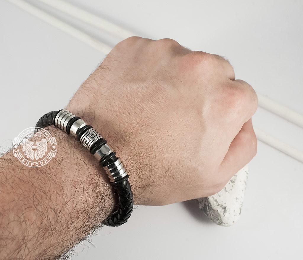 BM361 Массивный мужской браслет из кожаного шнура и стали (19 см) фото 05