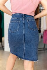 Джинсовая юбка с разрезом до колена недорого