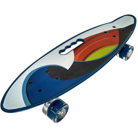 Скейтборд Граффити со светящимися колесами сини-белый