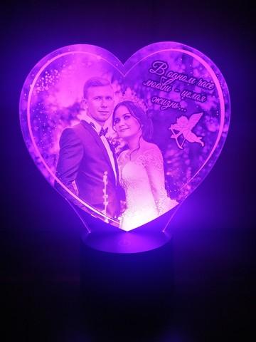 Фото-светильник в форме сердца с ангелом и текстом