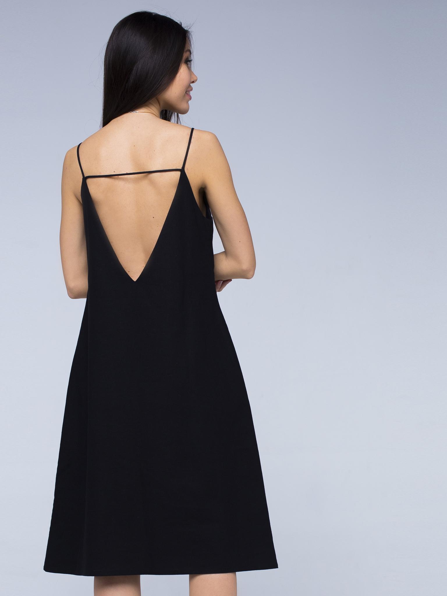 Платье черное льняное с открытой спинкой миди