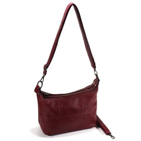 Бордовая сумка мягкой формы на плечо