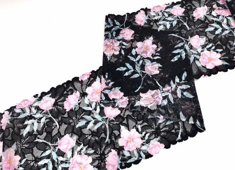Эластичное кружево, ОПТ, 20 см, черное с розовыми цветами, м, (Арт: EK-2278), м