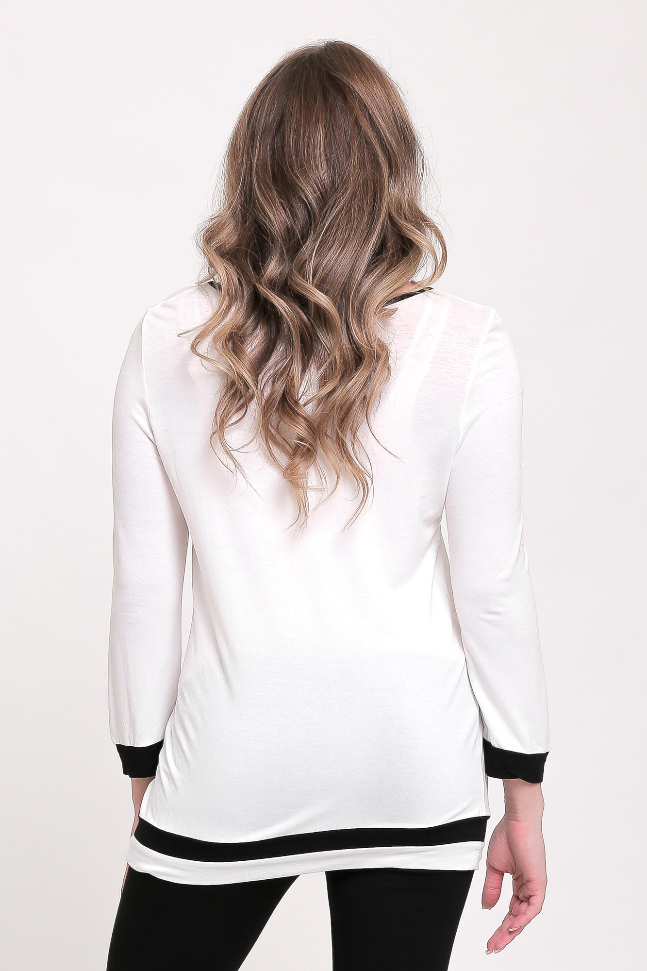 Блузка для беременных 00932 белый-черный