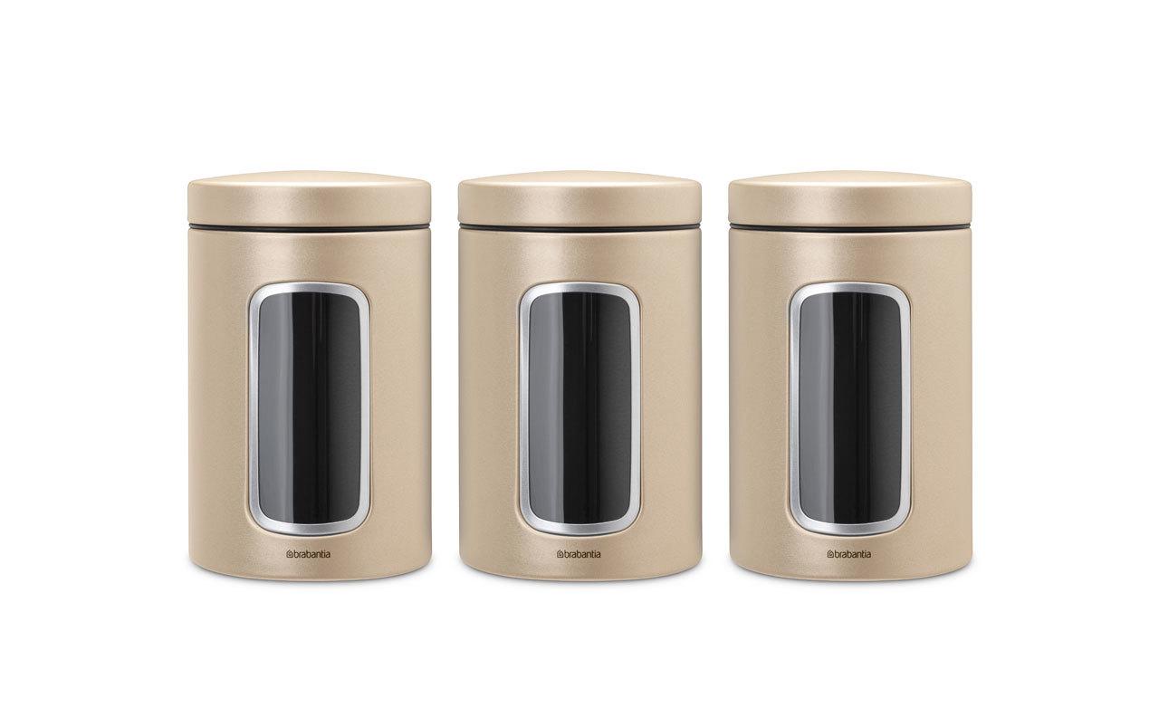 Набор контейнеров для сыпучих продуктов с окном (1,4 л), 3 шт., Шампань, арт. 304842 - фото 1