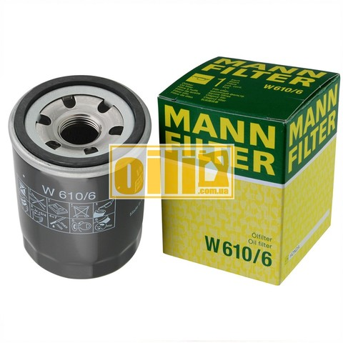 Фільтр масляний MANN W610/6 (Citroen, Fiat, Ford, Honda, Hyundai, KIA, Mazda, Mitsubishi, Nissan, Opel, Subaru, Volvo)