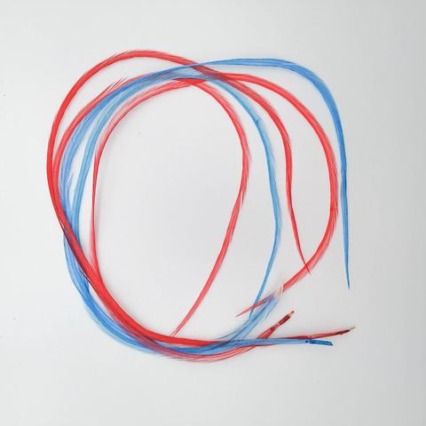 Перья петуха в волосы 35-40 см. 5 шт. (бирюза-алый)