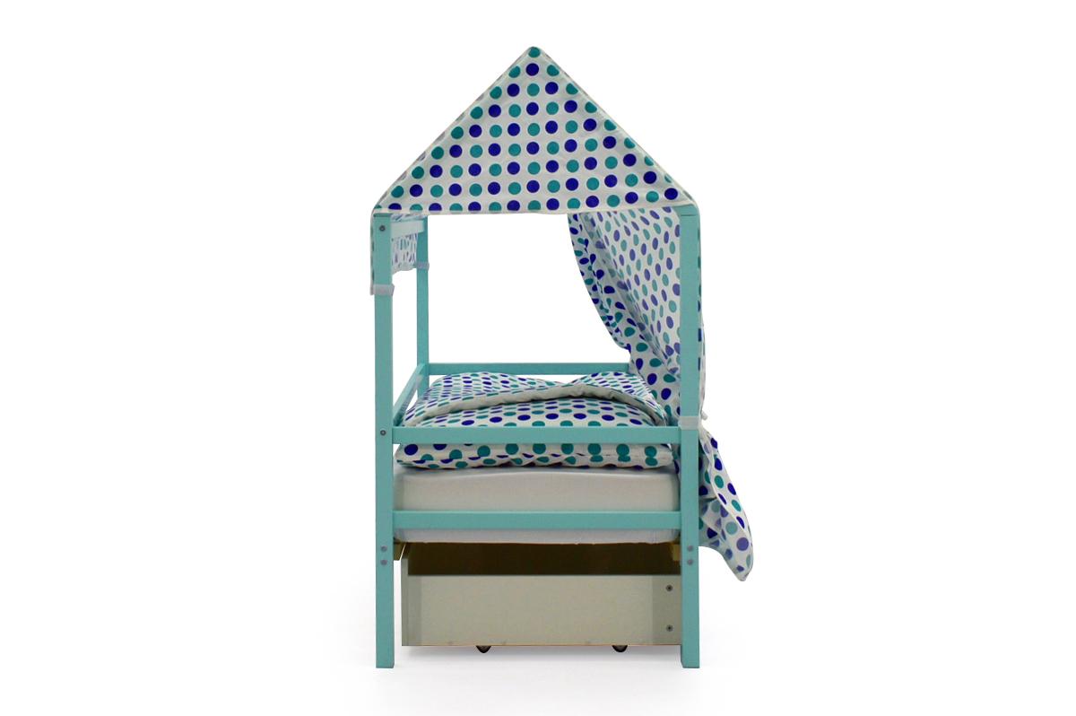 """Крыша текстильная для кровати-домика Svogen """"круги, мятный синий"""""""