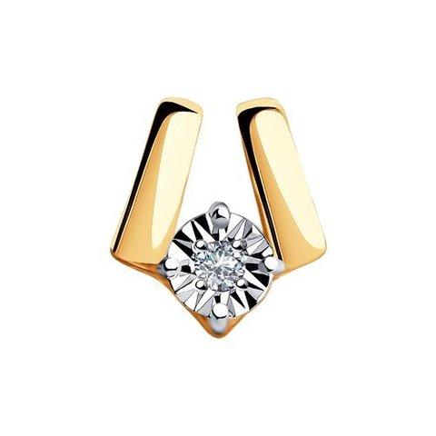 1030742 - Подвеска из комбинированного золота с бриллиантом
