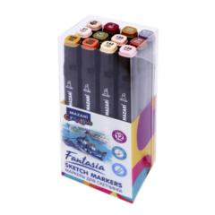 Mazari Fantasia набор маркеров для скетчинга 12 шт двусторонние спиртовые пуля/долото 3.0-6.2 мм (телесные + древесные)