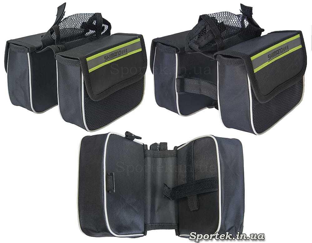 Сумка велосипедна Shimano спереду на раму, подвійна з бічними сітчастими кишенями