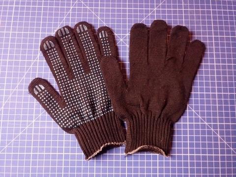 Перчатки 10 класс (5 нитей) черные с ПВХ (10 пар)