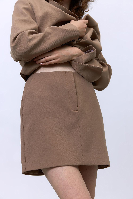 Юбка мини с гульфиком (костюмный твил), карамель