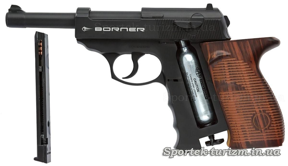Магазин і балон з газом в пістолеті Borner C41