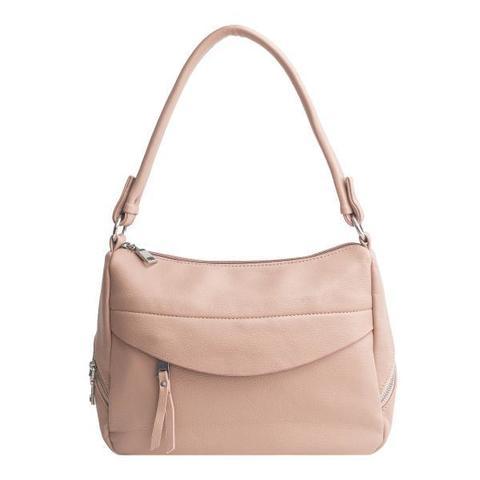 Бежевая сумка классической формы с внешним карманом