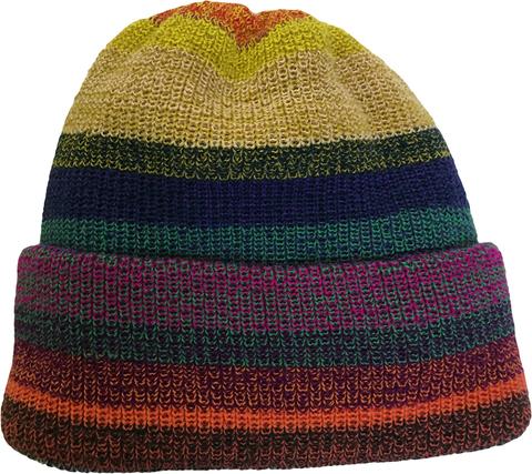 Полосатая шапочка бини зимняя с отворотом