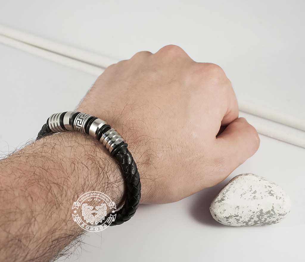 BM361 Массивный мужской браслет из кожаного шнура и стали (19 см) фото 06