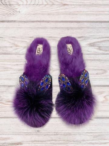 Тапочки домашние Ugg  из меха кролика с ушками, фиолетовые