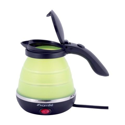 Чайник электрический силиконовый 0,5л., зелёный с чёрным