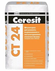 Цементная штукатурка Ceresit CT24 для ячеистого бетона, 25 кг
