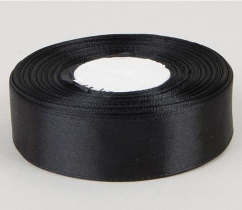 Лента атласная (размер 25 мм х 30 м) Цвет: черная