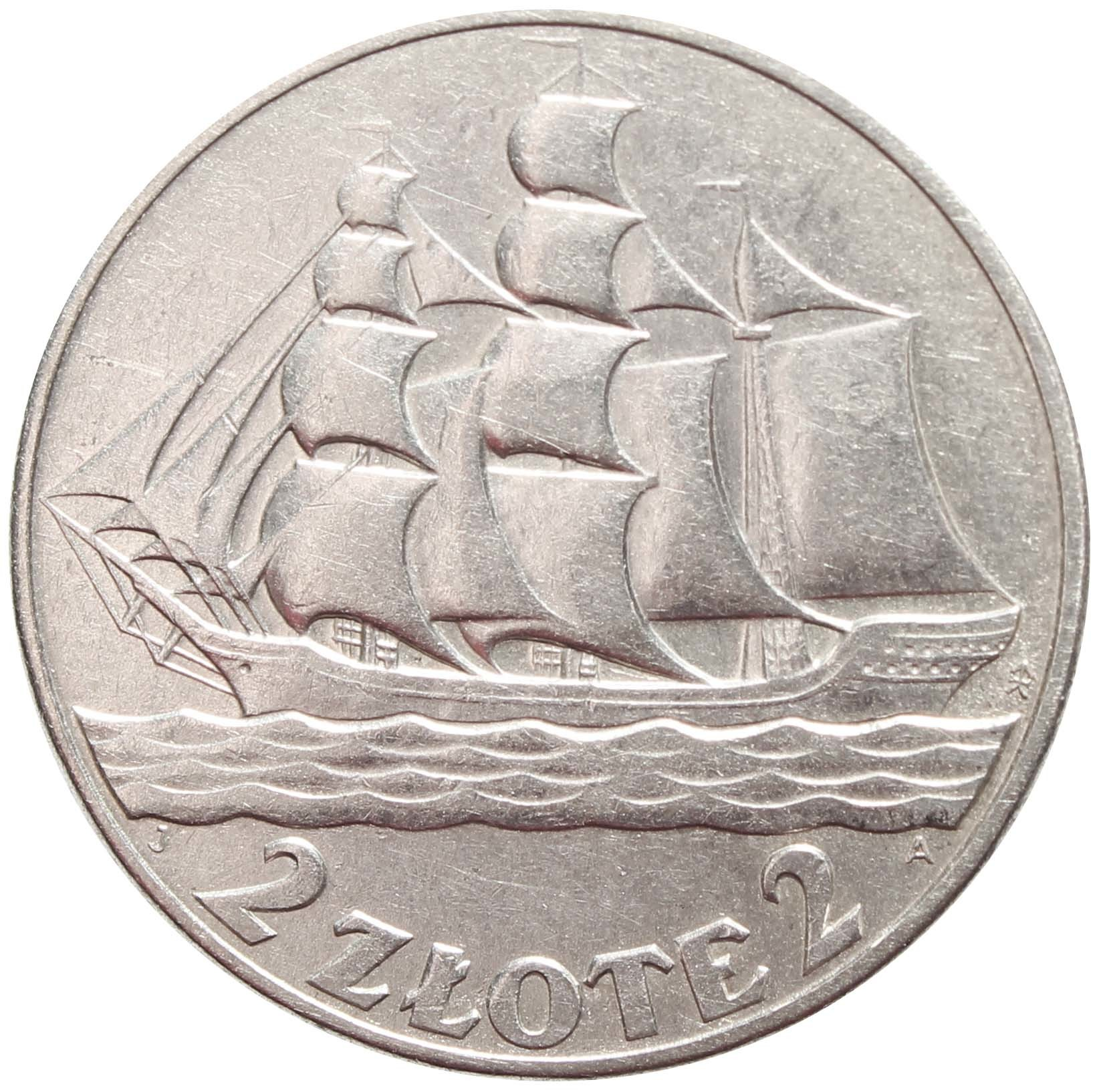 2 злотых. 15 лет морскому порту Гдыня. Парусник. Польша. 1936 год. aUNC