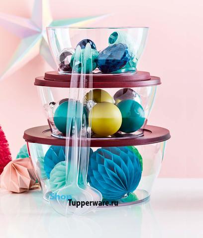 Чаша Кристалл в цвете бордо набор (1.35л, 2.4л, 4.3л)