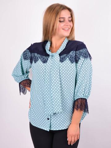 Галина. Стильна блуза для великих розмірів. М'ята.