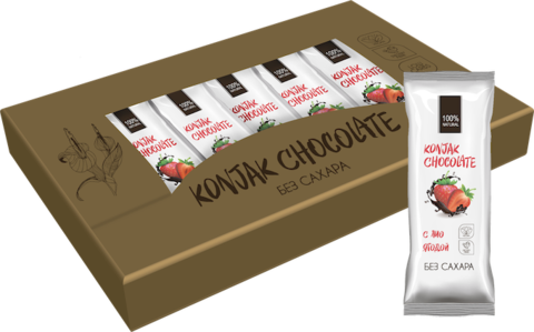 Шоколад без сахара KONJAK CHOCOLATE Клубничный, кор. 10 шт.