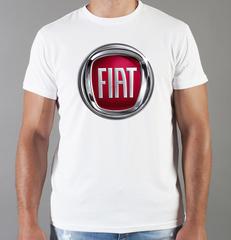 Футболка с принтом Fiat (Фиат) белая 002