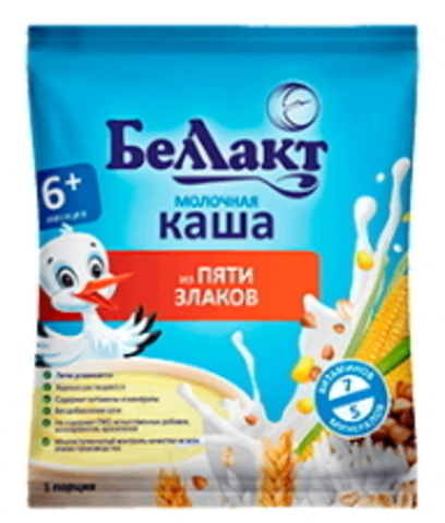 Каша сухая молочная из пяти злаков с 6-ти месяцев 35г. порция Беллакт