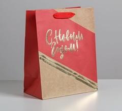 Пакет крафтовый вертикальный «С Новым годом», M 26 × 30 × 9 см, 1 шт.