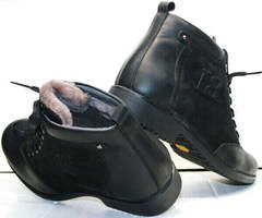 Теплые зимние ботинки с мехом мужские Luciano Bellini 6057-58K Black Leathers & Nubuk.