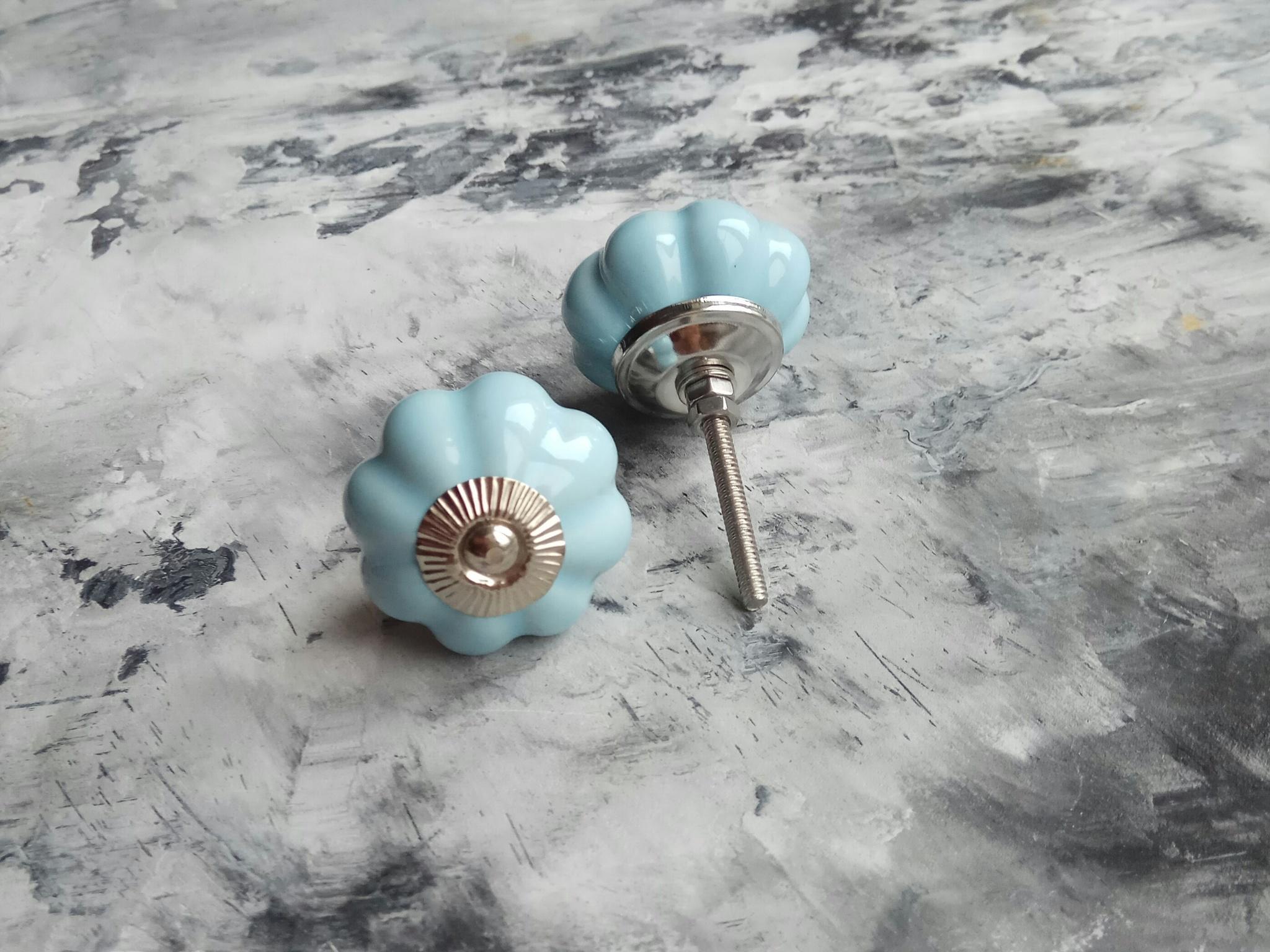 Ручка мебельная керамическая светло-голубая большая, арт. 00001058