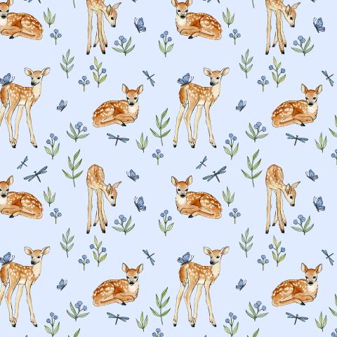 Baby deer on a blue background. Малыш олень на лугу