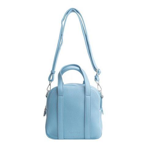 Голубая сумка квадратной формы с необычными ручками