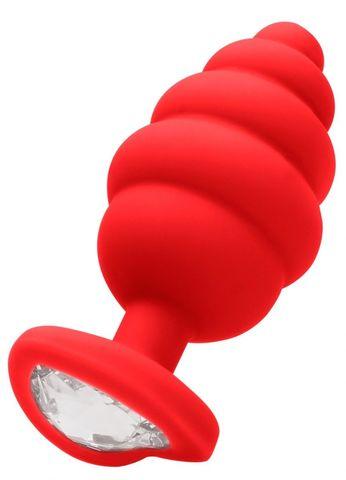 Красная анальная пробка Extra Large Ribbed Diamond Heart Plug - 9,6 см.
