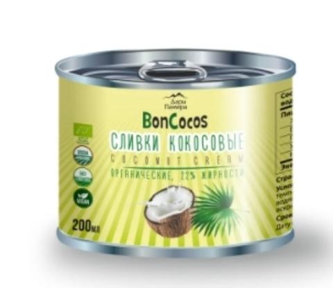 Сливки кокосовые BONCOCOS, органические, жирность 22%, Шри-Ланка, ж/б 200 мл