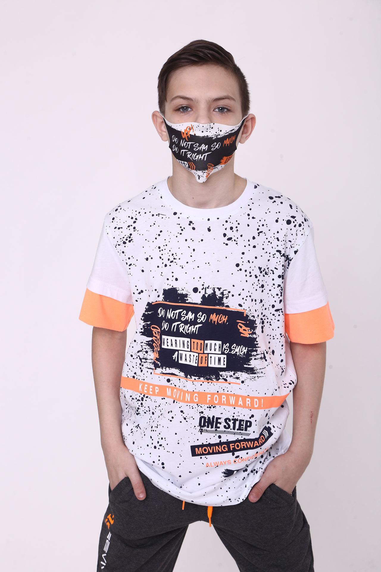Футболка для мальчика неон вставка +маска Cegisa Турция, 0708 (158-170)