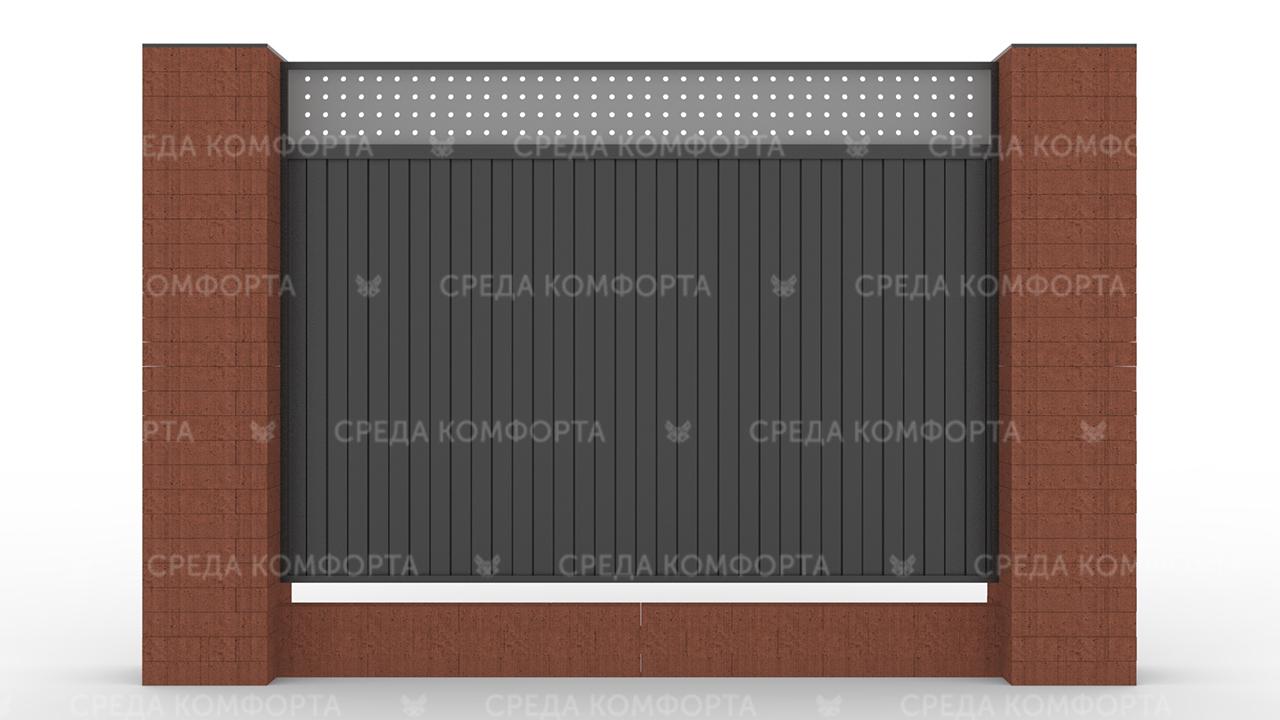 Забор из профлиста 2500х2000 мм ZBR0035 (ворота)