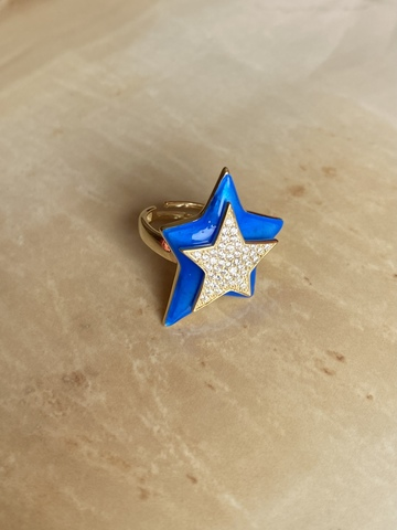 Кольцо Звезда синее, позолоченное серебро