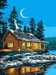 Картина по номерам Домик у озера